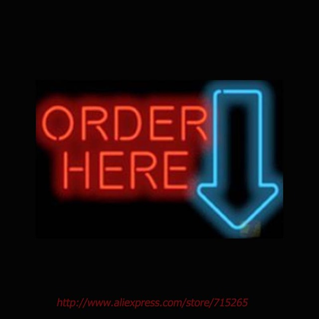 Brand new Large Order Here with Arrow Neon Sign Neon Bulbs Real Glass Tube  HM39