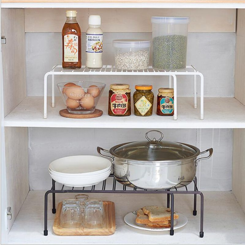 US $14.56 22% OFF|Expandable Kitchen Counter Cabinet Countertop Shelf  Organizer Rack Storage Bowl Adjustable Pantry-in Racks & Holders from Home  & ...