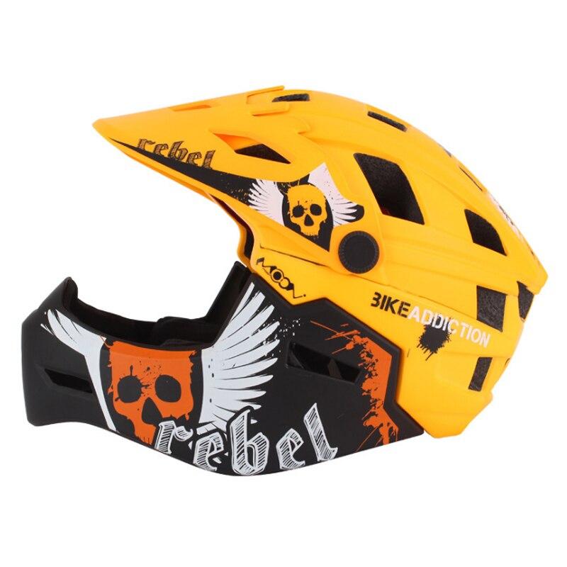 MOON hommes femmes bouche garde casque de cyclisme 2 en 1 intégralement moulé enfants vélo casque de vélo en bas colline vtt montagne casque
