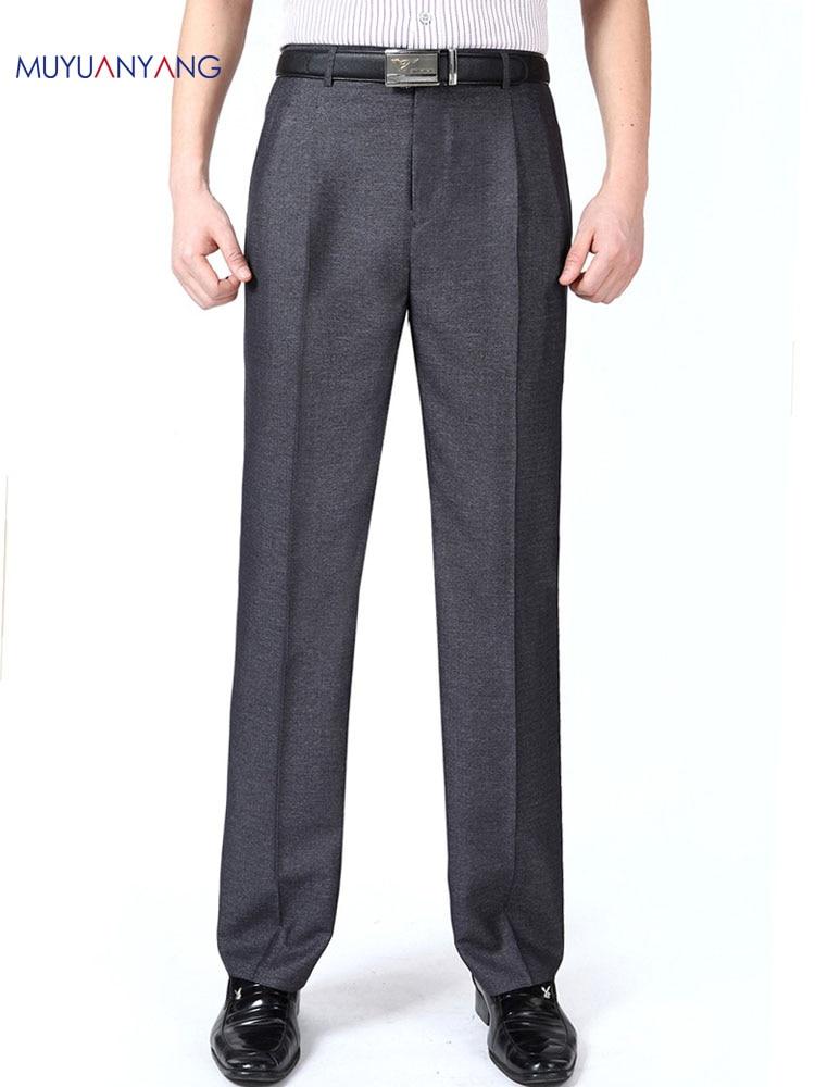 Men's Suit Pants Summer Silk Dress Pants Double Pleated Formal Trousers High-quality Big Man 46 48 50 52 54 56 Plus Size