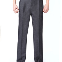 Mens Suit Pants Summer Silk Dress Pants Double Pleated Formal Trousers
