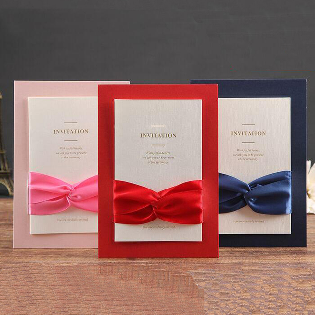 30pcs/pack Elegant Luxury Ribbon Paper Card with Envelope for