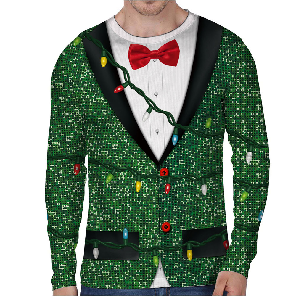 Autumn Funny Bow Tie Cosplay Merry Christmas Tree Prints Fitness Workout Long Sleeve Man T shirt Women Men T Shirt Tops Tees