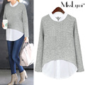 XXXL 4XL 5XL Plus Size Women Tops 2017 Spring Autumn Fashion Stand Collar Patchwork Knitted Long Sleeve Loose Casual White Shirt