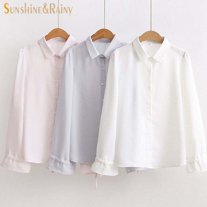 Sunny Solid Blouse Office Ladies Tops Long Sleeve Button Bandage Camisas Mujer Spring Shirt Female Womens Tops And Blouses Sheer Blouses & Shirts