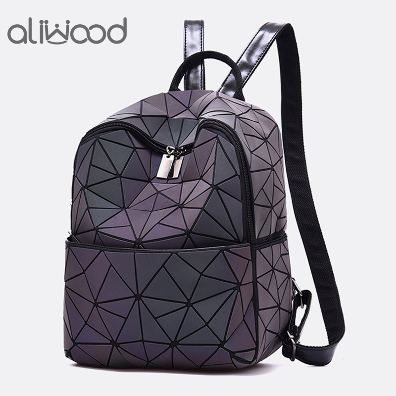 aliwood Brand Luminous Backpack Geometric Women Small Backpack For Teenage Girl Female Laser Diamond School Bag Mochila Feminina