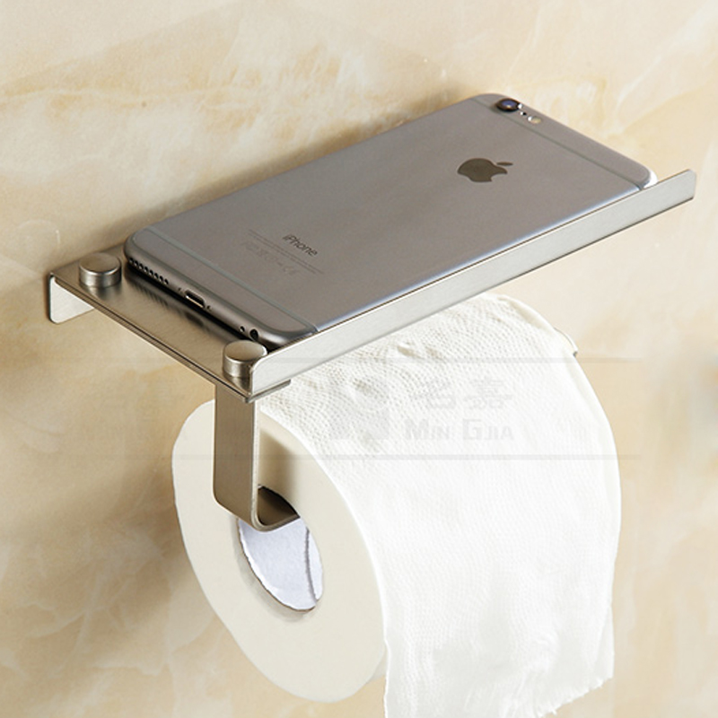 brushed nickel ultrathin toilet paper holder wall mounted roll paper tissue bar with mobile. Black Bedroom Furniture Sets. Home Design Ideas