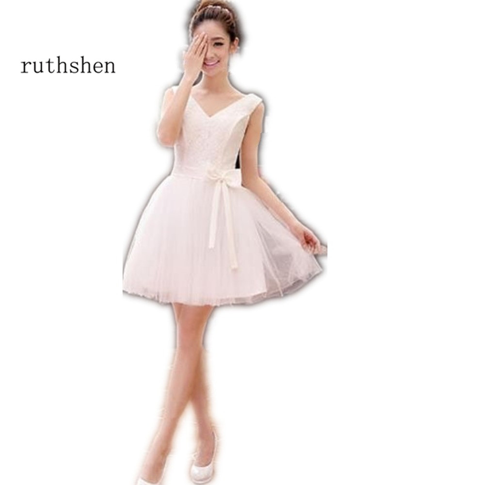 ruthshen Short Ivory   Prom     Dresses   V-Neck Lace Top Ruched Tulle Mini Cocktail Party   Dresses   Cheap Vestidos De Formatura