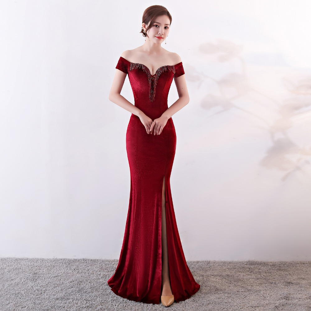 Women Elegant Sexy Appliques Velvet Wine Red Off Shoulder V-Neck Long Mermaid Slim Slit Club Party Dress Vestidos (19)