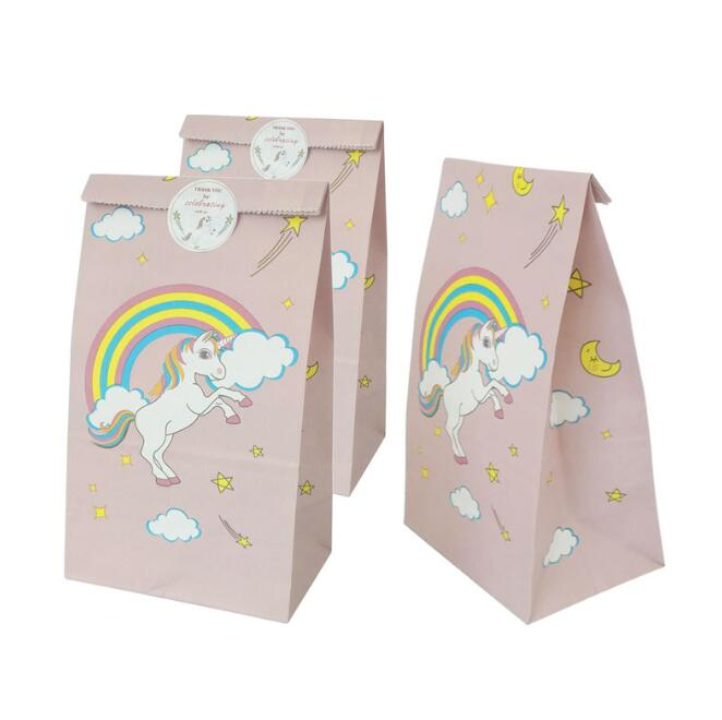 12pcs Unicorn Paper Gift Bags Catering West Point Candy Packaging Bag Birthday Party Decor Supplies Oil-proof Packaging Bag