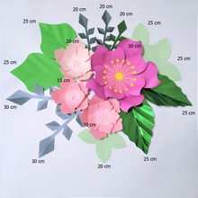 Handmade Mix Pink Rose DIY Paper Flowers Green Leaves Set For Nursery Wall Deco Boys Room Baby Shower Backdrop Video Tutorials