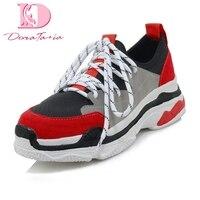 DoraTasia 2018 Large Size 29 46 Lace Up Dropship Platform Boots Woman Shoes Lace Up Red Black Vulcanize Shoes sneakers Woman