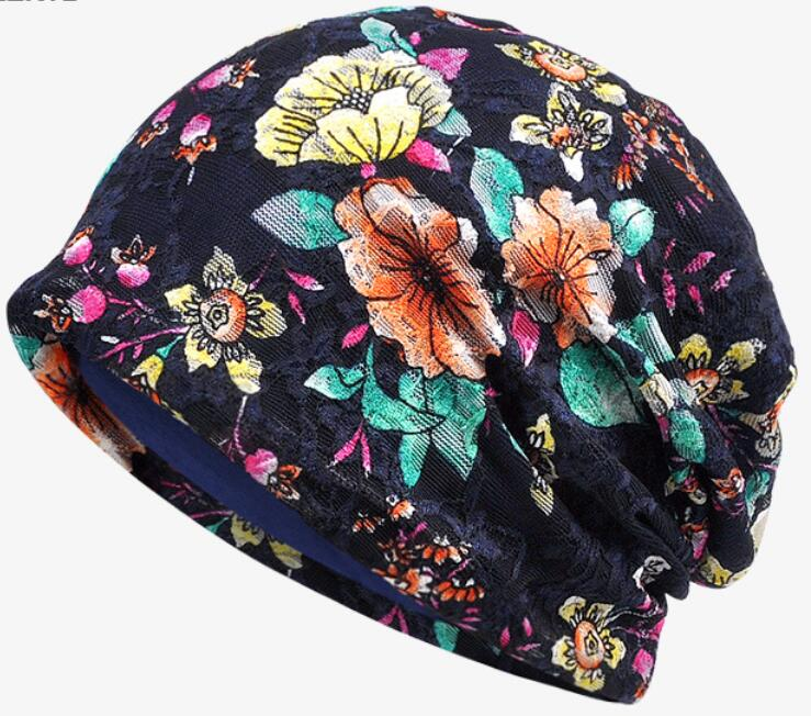 lady turban skullies fashion cap chemo lace cancer hat Cap Chemo slip on bonnet 2 Colors  free ship skullies