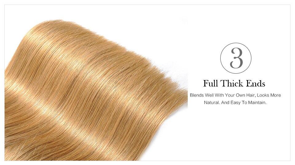 Haarverlängerung Und Perücken Honig Blonde Bundles Farbige 27 Gerade Menschliche Haarwebart Bundles Blonde Peruanische Haar Verlängerung Glänzende Stern Dicke Schuss Nonremy
