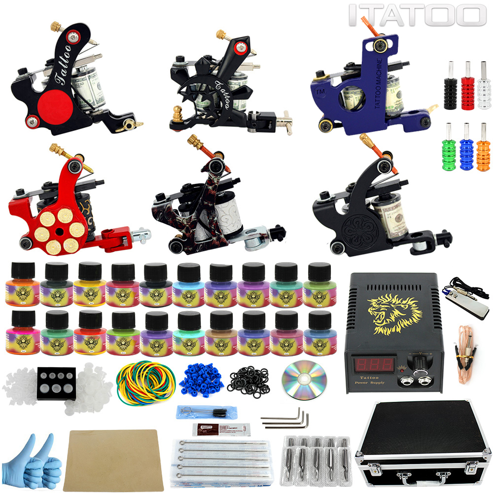 ITATOO Tattoo Kit 6 Coil Tattoo Machine Liner Shader Tattoo Gun Set 20pcs 5ml Tattoo Inks Power Supply with Carry Case TK1000008 trulinoya 2 13m power ml baitcasting fishing rod 2secs 6 14g carbon bass lure rods fuji accessories action mf pesca stick tackle