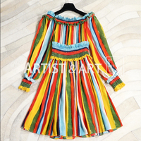 High End Custom 100% Silk Dress 2018 Women's Autumn Vacation Bohemian Colours Striped Printed Runway Sexy Off Shoulder Dress