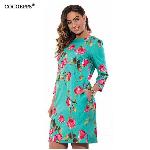 COCOEPPS Элегантный цветочный печати Повседневная женщины платья большие размеры НОВЫЙ 2017 плюс размер женская одежда Осень о-образным вырезом bodycon короткие Dress