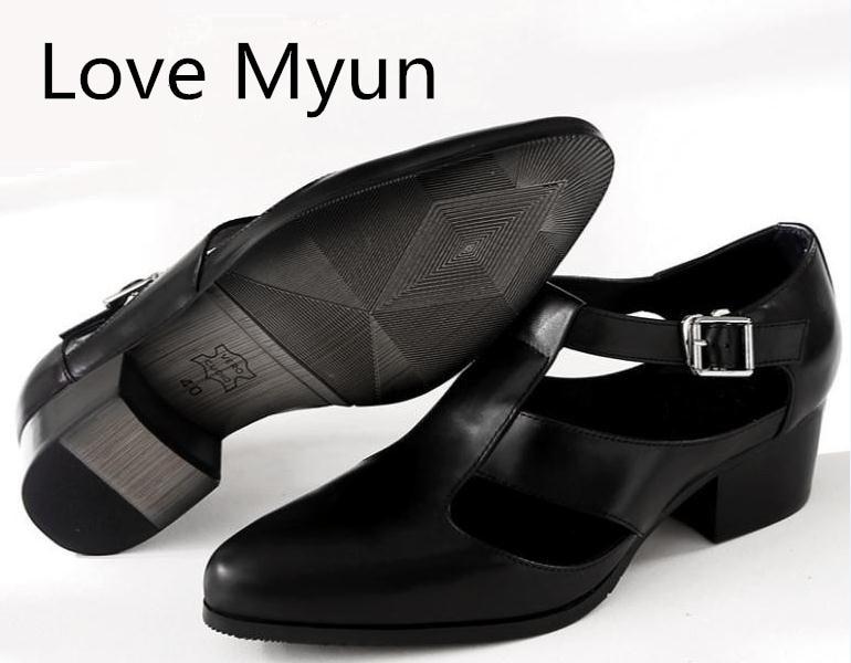 남성 샌들 여름 캐주얼 신발 5 cm 하이힐 지적 발가락 정품 가죽 샌들 영국 트렌드 망 비즈니스 작업 신발 샌들-에서남성용 샌들부터 신발 의  그룹 1