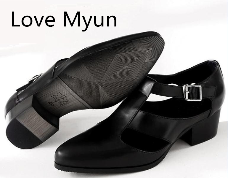 Men Sandals Summer Casual Shoes 5cm High Heels Pointed Toe Genuine Leather Sandals British Trend Mens Business Work Shoes Sandal