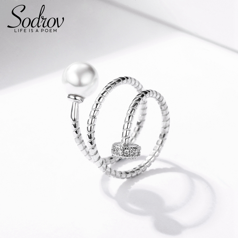 SODROV 925 Sterling Silver Pearls Ring Resizable Size Engagement Wedding Jewelry For Women Silver 925 Jewelry