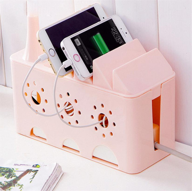 Multi Purpose Power Plug Socket Anti Dust Storage Box Cell Phone Charge Holder Cable