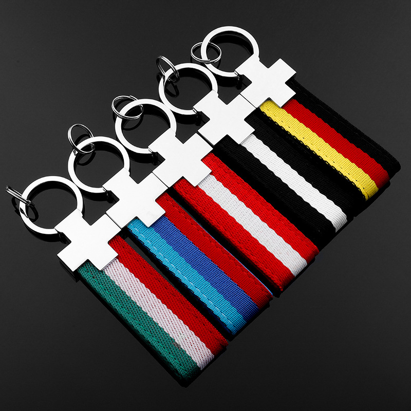 Fashion 3 color embroidery textile striped keychain Car key ring for BMW M Mercedes benz AMG Volkswagen Audi a4 Auto accessories image