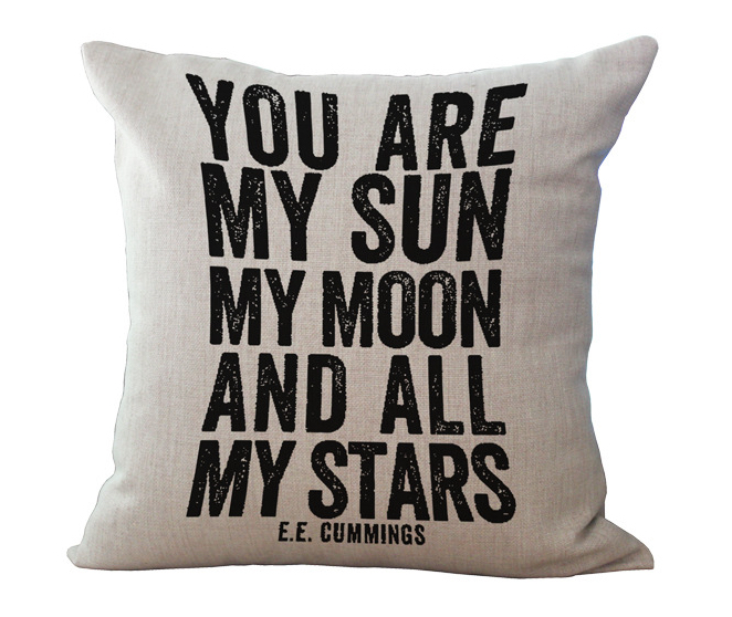 YOU ARE MY SUNSHINE MY MOON AND ALL MY STARS EE CUMMINGS Emoji Enchanting You Are My Sunshine Decorative Pillow