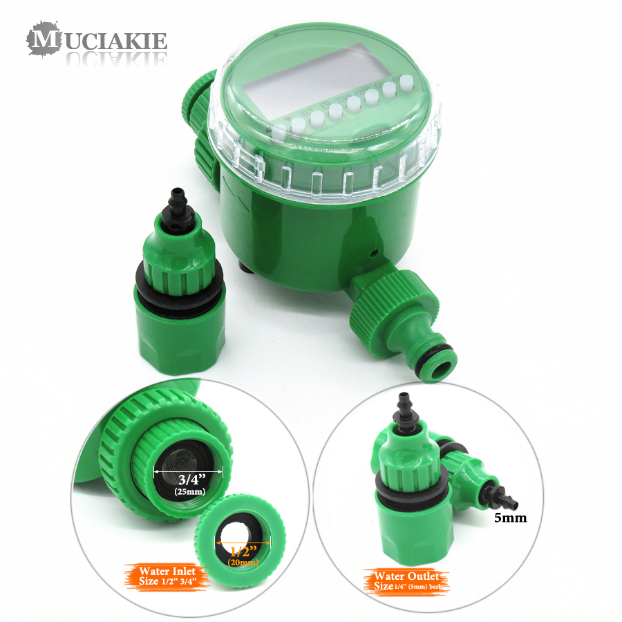 MUCIAKIE Garden Water Timer with 1/2/4-Way Hose Splitter Automatic Watering Irrigation Controller Adapter 4/7 8/11 16mm Hose 2