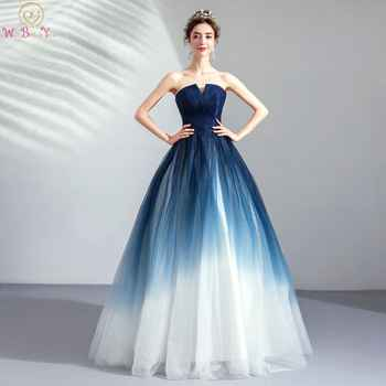 Walk Beside You Navy Blue White Evening Dresses Contrast Color A-line Tulle Strapless V-neck Long Floor Length Formal Prom Gowns - DISCOUNT ITEM  11% OFF All Category