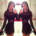 Long Sleeves Black Short Cocktail Dress Hot Slim Lace Sheer Waist Sexy Party Dress Gown vestido de festa curto