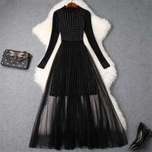 High Quality Winter Sweater Dress Women 2018 Designer Fashion Full Sleeved Beading Knitted Patchwork Sexy Midi Tulle Dresses