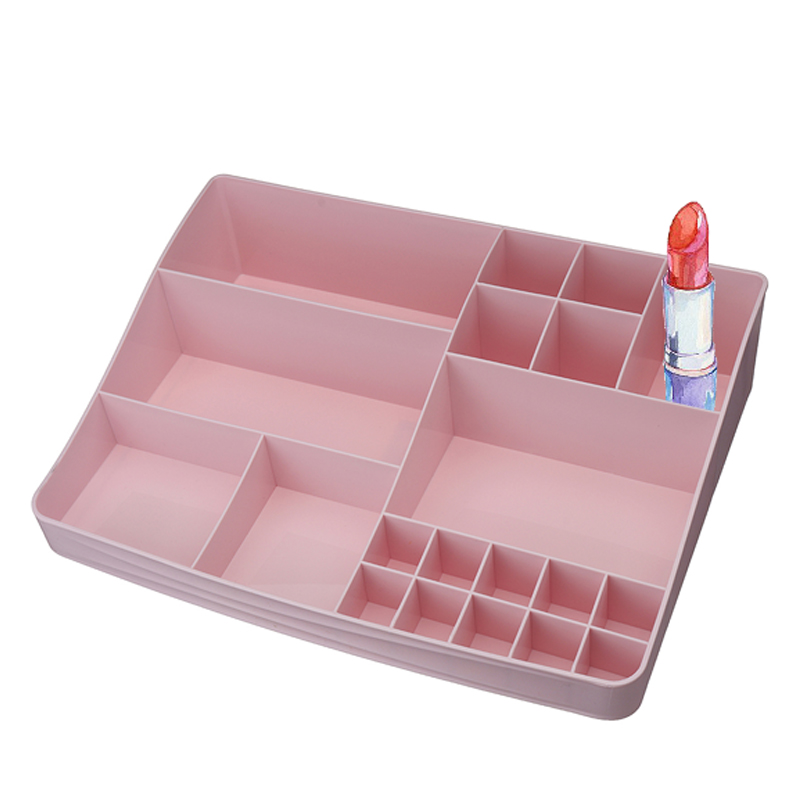 13 Slots Plastic Cosmetic Makeup Organizer Nail Polish Lipstick Dress Desktop Storage Box Jewelry Case Stand Rack 236*185*75mm