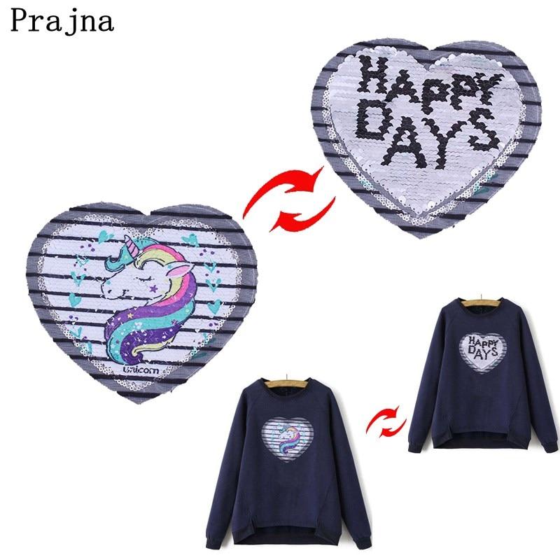 Prajna Unicorn Patch Happy Days Reversible Sequin Change Heart Color Gold & Black Clothe ...