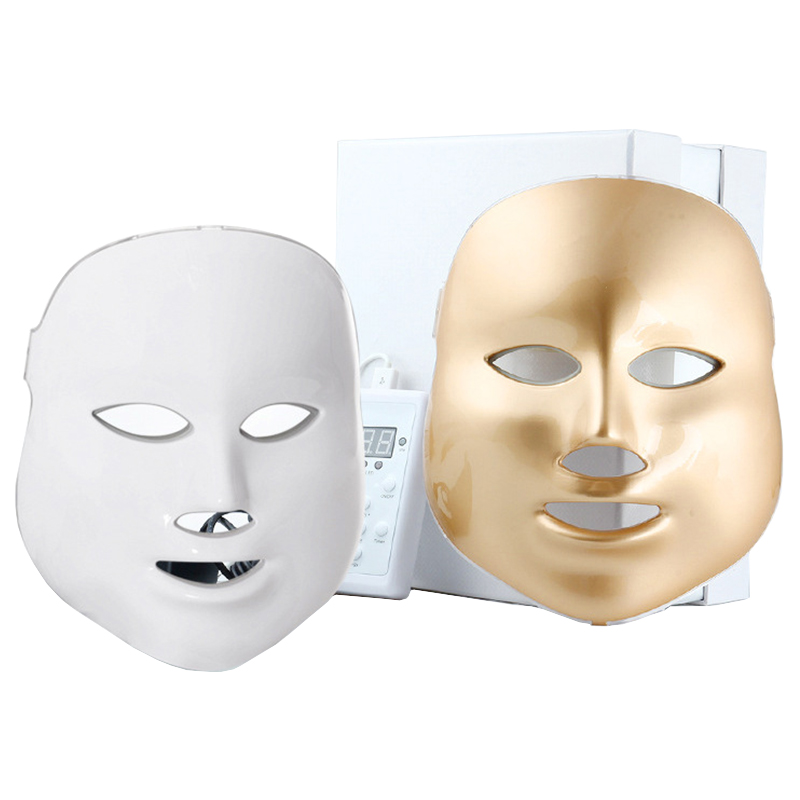 Gold 7 Color LED Photon Therapy Mask Beauty Facial Mask Machine Skin Care Shrink Pores Anti