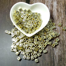10pcs Gold color Square 6mm English letters Mixed Alphabet Letter Beads Charms Bracelet Necklace For Jewelry Making DIY Accessor(China)