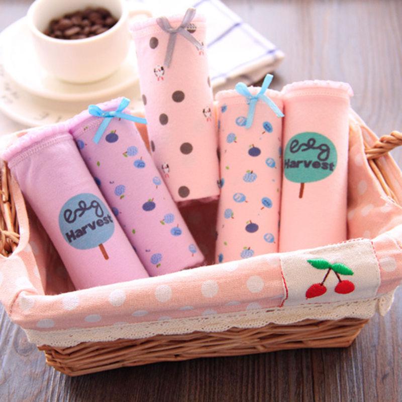 New Teen Ladies Cotton Panties Young Girls Panties Cartoon Solid Color Girls Cotton -2571