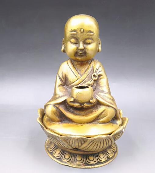 Chinese brass lotus The monk hug bowl incense burnerChinese brass lotus The monk hug bowl incense burner