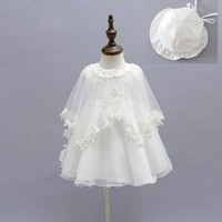 EMS DHL Free 2017 New Lace Tulle Baby Girls Kids Dress Party Sleeveless Dress Cape Poncho