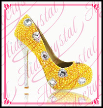 Aidocrystal new Diamond fashion high quality yellow platform shoes women high heel rhinestone pearl wedding shoes