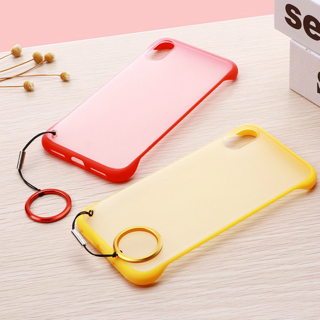 New Fashion phone case PC Cover for iphone XS Max XR Frameless Transparent Matte Hard  Case for iphone 6 7 8 Plus Finger Ring