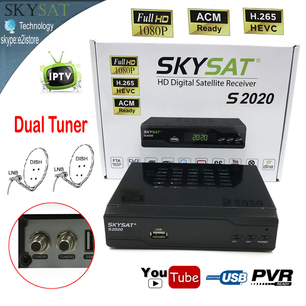 Skysat Dual Dish Twin Tuner H.265 AVC MPEG-4 Digital Satellite Receiver ACM Support IKS SKS ACM/VCM/CCM IPTV VOD with LAN Wifi free forever nusky n3gsi nusky n3gst south america satellite receiver with iks sks free better than tocomfree s929 plus