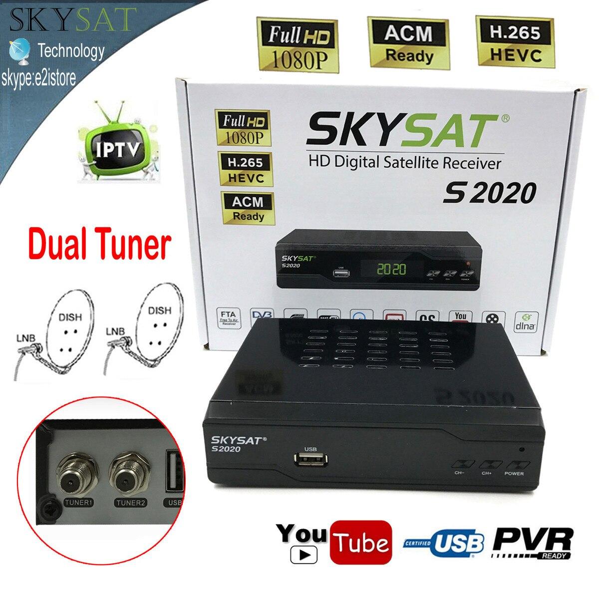 Skysat Dual Dish Twin Tuner H.265 AVC MPEG-4 Digital Satellite Receiver ACM Support IKS SKS ACM/VCM/CCM IPTV VOD with LAN Wifi az american s930a twin tuner satellite receiver for south america nagra3