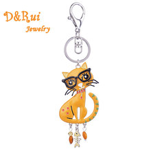 Enamel Alloy Cat Key Chain Woman Key Ring Girl Bag Charm Keychain Pendant Jewelry Keychains for Women Car HandBag Accessories