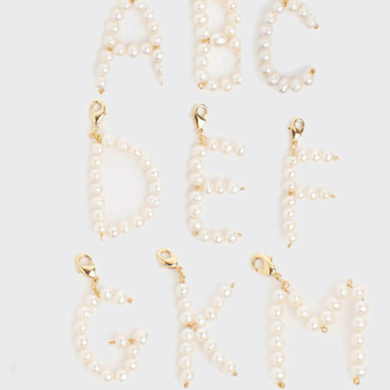 natural freshwater pearl Pearly Initial Jewelry name DIY custom 26 A-Z English Alphabet Letter pendant for jewelry making bedels