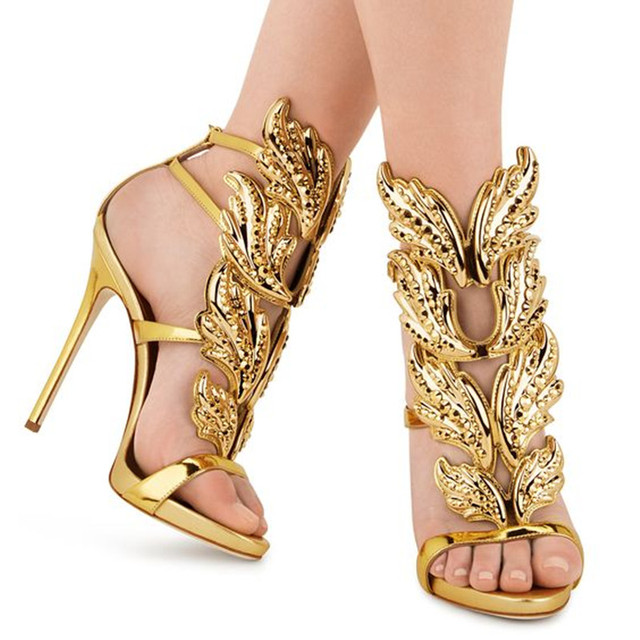 4c6ef8d376b US $87.5 |2016 Fashion Design CRUEL CRYSTAL Women Sandals Metallic Leather  Wing Caged Sandals High Heels Sexy Ladies Wedding Shoes Woman-in Women's ...