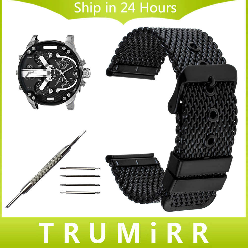 20mm 22mm 24mm Milanese Watchband + Tool for Diesel Men Women Watch Band Stainless Steel Strap Wrist Belt Bracelet Black Silver