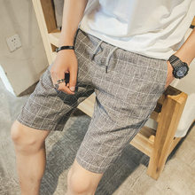 New Fashion Mens Linen Shorts 2017 Summer Brand Men Shorts Homme Stylish Plaid Casual Beach Shorts Men Short Pants