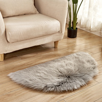 45x90cm Long Faux Fur Artificial Wool Sheepskin Skin Semicircle Fluffy Floor Mat Carpet Area Rug Living Bedroom