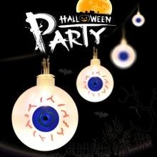 LED-stränglampa för Halloween Dekorativt semesterparti Julljus 2.2M 20 lysdioder Pumpa Spindelbåge Spöke Ögon Skull JL