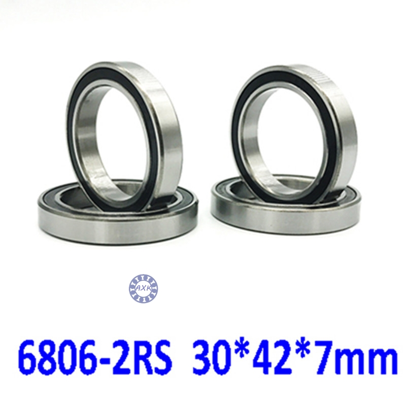 free shipping 6806 <font><b>6806RS</b></font> 61806-2RS 30*42*7 mmg Thin wall chrome steel deep groove <font><b>bearing</b></font> Rubber sealed <font><b>bearing</b></font> 6806-2RS image